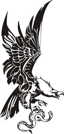 fenice: Aquila - uccelli predatori. illustrazione. Pronto per il taglio di vinile. Vettoriali