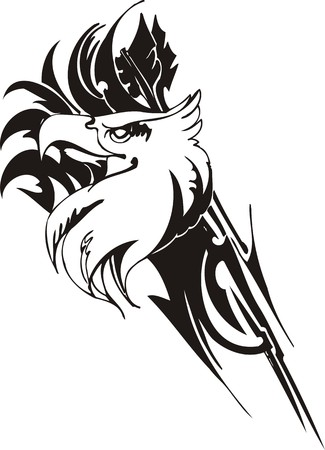 Eagle - predatory bird. illustration. Ready for vinyl cutting. Vector