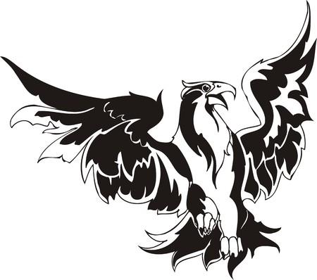 phoenix bird: Eagle - predatory bird. illustration. Ready for vinyl cutting.