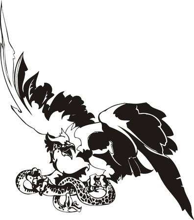 Águila - aves predadoras. ilustración. Listo para el corte de vinilo. Ilustración de vector