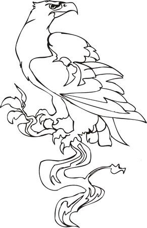 fenix: Eagle - predatory bird. illustration. Ready for vinyl cutting.