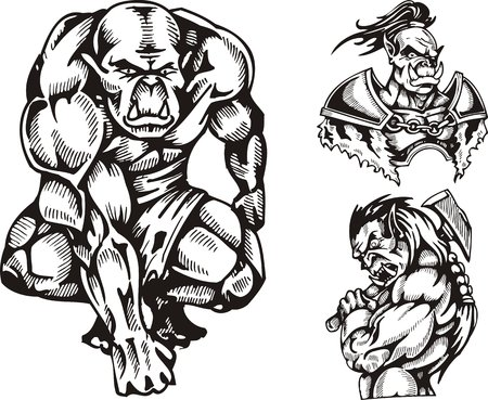 goblins: The goblin in shorts, the goblin with an axe, the goblin in an armour. Goblins. illustration ready for vinyl cutting. Illustration
