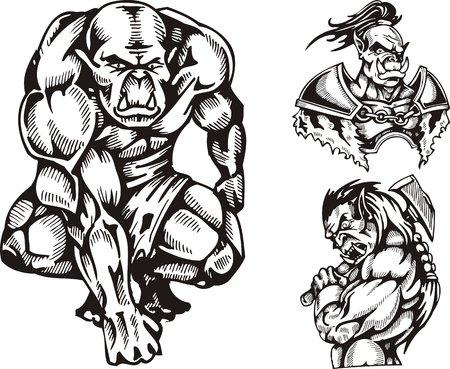 goblin: The goblin in shorts, the goblin with an axe, the goblin in an armour. Goblins. illustration ready for vinyl cutting. Illustration