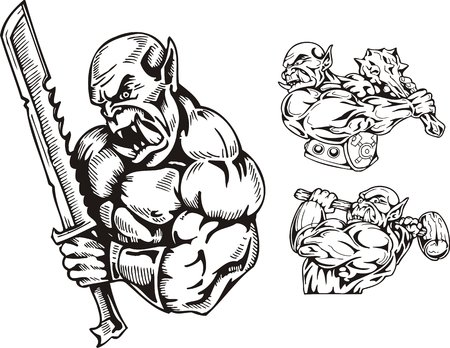 a cudgel: The goblin with a sword, the goblin with a cudgel and the goblin with a hammer. Goblins. illustration ready for vinyl cutting.