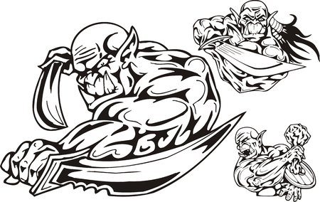 a cudgel: The goblin with daggers, the goblin with a sword, the goblin with a cudgel and a board. Goblins. illustration ready for vinyl cutting. Illustration