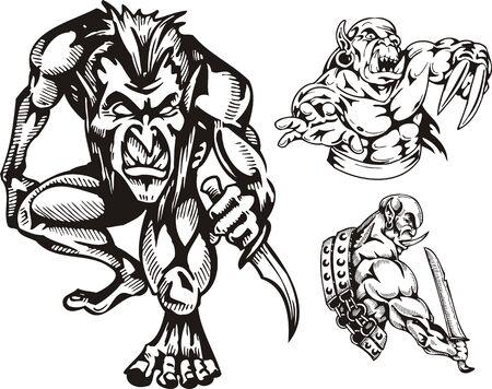 De goblin - dwerg met een dolk en de goblin met een zwaard. Goblins. illustratie klaar voor vinyl snijden. Vector Illustratie