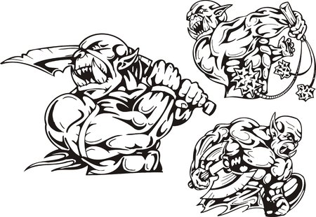 The goblin with a sabre, the goblin with a sword and a board, the goblin with a mace. Goblins. illustration ready for vinyl cutting. Vector