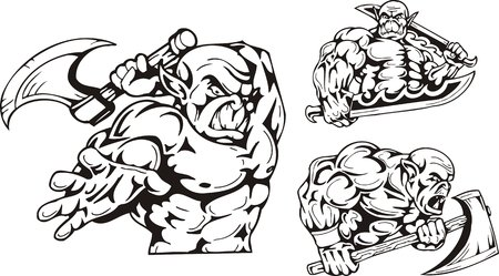 The goblin with an axe, the goblin with two swords. Goblins. illustration ready for vinyl cutting. Vector