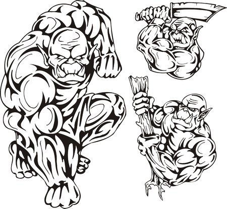 dark elf: The goblin with a cudgel, the goblin with an axe. Goblins. illustration ready for vinyl cutting.
