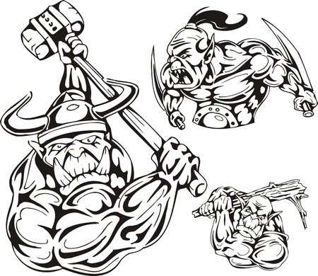 a cudgel: The goblin in a helmet and with a hammer, the goblin with daggers. Goblins. illustration ready for vinyl cutting. Illustration