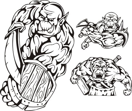 goblins: The goblin with a sword and a board, the goblin with a hammer, the goblin with an axe. Goblins. illustration ready for vinyl cutting.