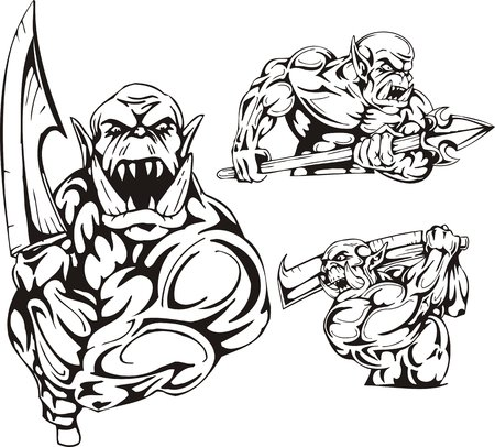 The goblin with a sword and the goblin with a spear. Goblins. illustration ready for vinyl cutting. Vector