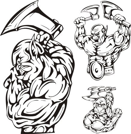 Three goblins with axes. Goblins. illustration ready for vinyl cutting. Vector