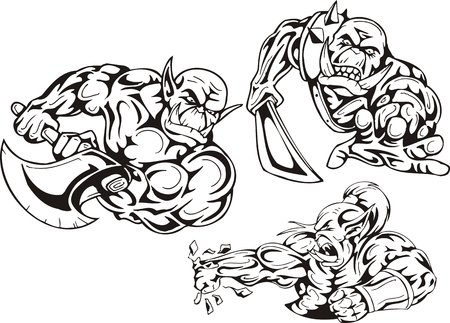 goblins: The goblin strikes impact. Goblins. illustration ready for vinyl cutting. Illustration
