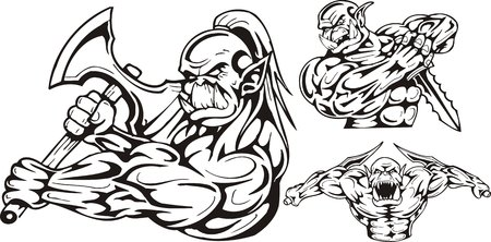 dark elf: The goblin with a pole-axe, the goblin with daggers. Goblins. illustration ready for vinyl cutting.