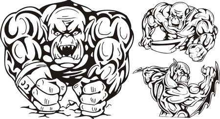 The goblin strikes impact by two fists. Goblins. illustration ready for vinyl cutting. Vector