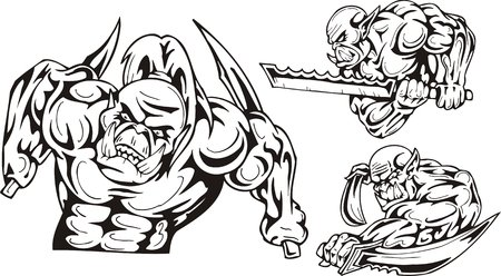 dark elf: The goblin with two daggers and the goblin with a sword. Goblins. illustration ready for vinyl cutting.