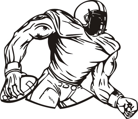 running: Football.  illustration ready for vinyl cutting.