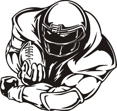 football helmet: Football  illustration ready for vinyl cutting.