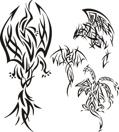 The dragon soars in air. Tribal dragons. Vector illustration ready for vinyl cutting. Vector