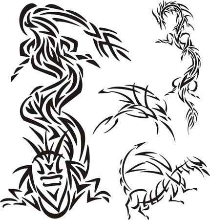 searches: The snake-dragon searches for prey. Tribal dragons. Vector illustration ready for vinyl cutting. Illustration
