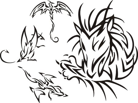 The dragon has bitten the paw. Tribal dragons. Vector illustration ready for vinyl cutting. Vector