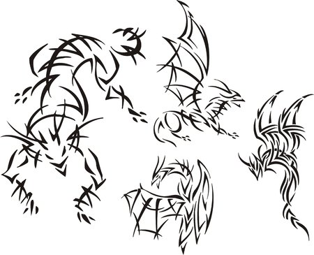 The dragon to be going to attack the purpose. Tribal dragons. Vector illustration ready for vinyl cutting. Vector