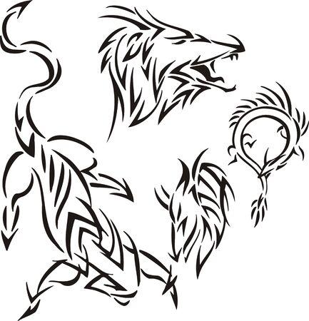 opened mouth: El drag�n ha abierto una boca. Tribales de los dragones. Ilustraci�n vectorial listo para corte de vinilo.