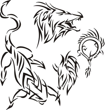 The dragon has opened a mouth. Tribal dragons. Vector illustration ready for vinyl cutting. Vector