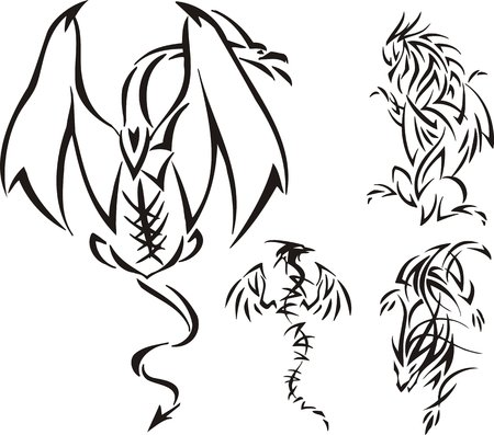The dragon has highly flied up. Tribal dragons. Vector illustration ready for vinyl cutting. Vector