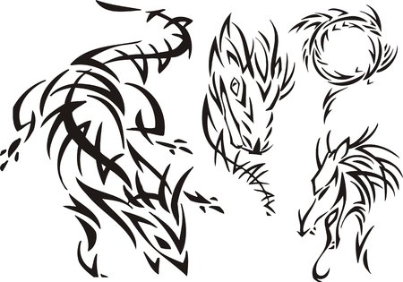 The horned dragon pursues prey. Tribal dragons. Vector illustration ready for vinyl cutting. Vector