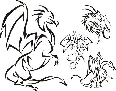 The dragon has risen on hinder legs. Tribal dragons. Vector illustration ready for vinyl cutting. Vector