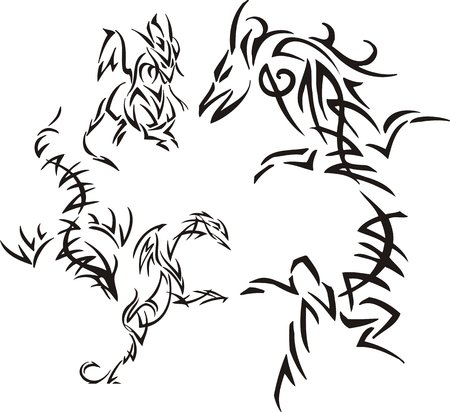 Dragon with a long body. Tribal dragons. Vector illustration ready for vinyl cutting. Vector