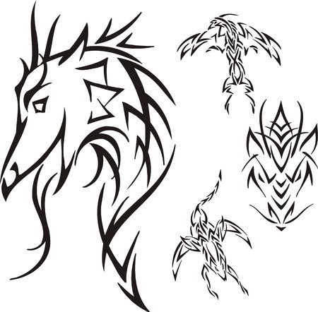 Head of a dragon. Tribal dragons. Vector illustration ready for vinyl cutting. Vector