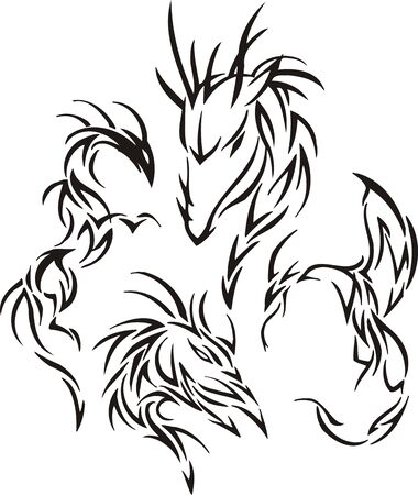 Wise dragon. Tribal dragons. Vector illustration ready for vinyl cutting. Vector