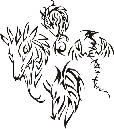 head for: Head of a dragon with snake tongue. Tribal dragons. Vector illustration ready for vinyl cutting. Illustration