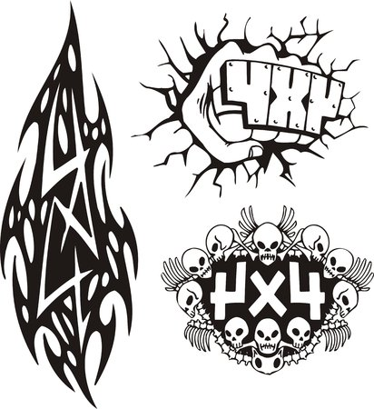Compositions Off-Road - blow of a fist, a skull and tribal, in acombination to a symbol 4�4. Vector illustration ready for vinylcutting.