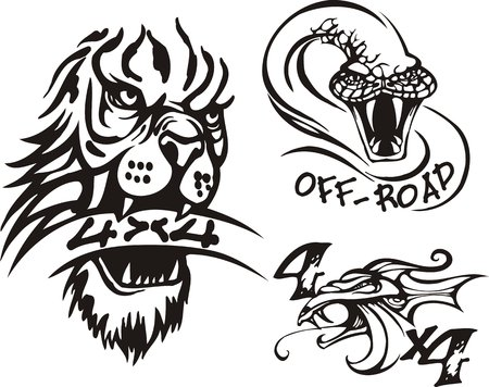 dens: Head of a lion, dragon and a lizard. Off-road symbols. Vector illustration ready for vinylcutting.