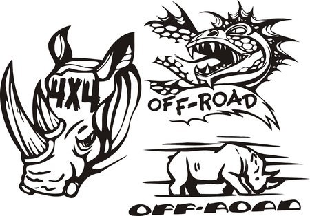 spiteful: Rhinoceros and spiteful pangolin. Off-road symbols. Vector illustration ready for vinylcutting.