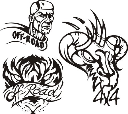 Eagle owl, the horned monster and the zombie. Off-road symbols. Vector illustration ready for vinylcutting. Vector