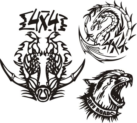 Wild boar, dragon and cat. Off-road symbols. Vector illustration ready for vinylcutting. Vector