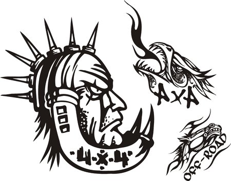 The person with thorns on a head, a pangolin and a horse. Off-road symbols. Vector illustration ready for vinylcutting. Vector