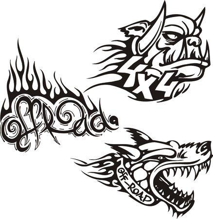 Dog with the opened mouth and the goblin. Off-road symbols. Vector illustration ready for vinylcutting. Vector