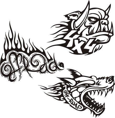 opened mouth: Perro con la boca abierta y el duende. S�mbolos todoterreno. Ilustraci�n vectorial listo para vinylcutting.