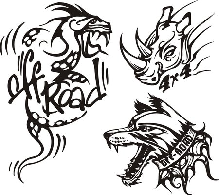 Dragon, rhinoceros and dog. Off-road symbols. Vector illustration ready for vinylcutting. Vector