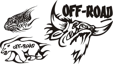 Bull, pangolin and polar bear. Off-road symbols. Vector illustration ready for vinylcutting. Vector
