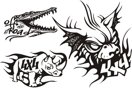 Crocodile, bat and rhinoceros. Off-road symbols. Vector illustration ready for vinylcutting. Vector