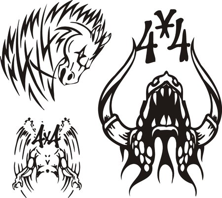 Horse, the horned monster and angel. Off-road symbols. Vector illustration ready for vinylcutting. Vector