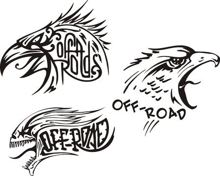 goshawk: Eagle, the goshawk and a skull. Off-road symbols. Vector illustration ready for vinylcutting.