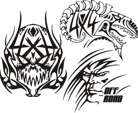 dens: Skull, the face of person and the ram. Off-road symbols. Vector illustration ready for vinylcutting.